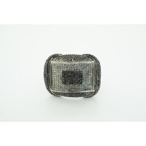 Other - Mens 10k White Gold Ring with White And Black Diam